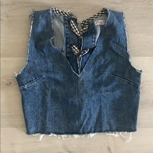 ZARA Jean w B&W Buffalo Check Tied Crop Vest, XS